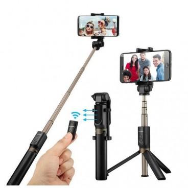 Trepied si selfie stick cu telecomanda pentru telefon
